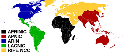 Map of the world showing the territory of the five Regional Internet Registrys