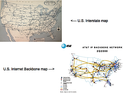 United States road map and map of the internet backbone in the US